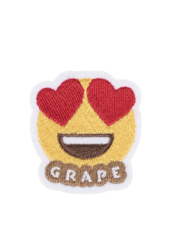Nažehľovacia výšivka v tvare smajlíka s láskou v očiach Grape