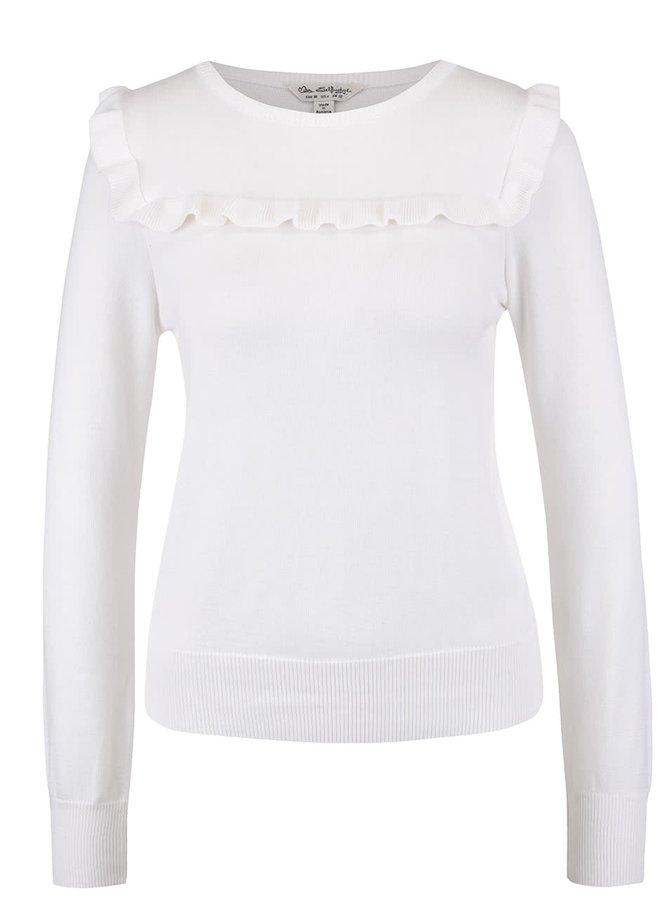 Krémový sveter s volánom Miss Selfridge