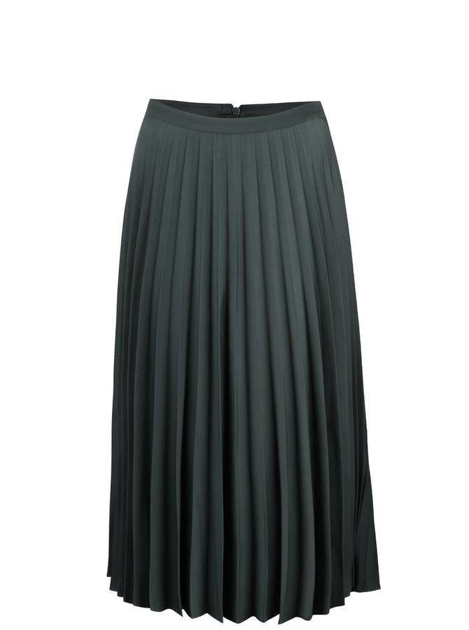Tmavozelená plisovaná midi sukňa Miss Selfridge