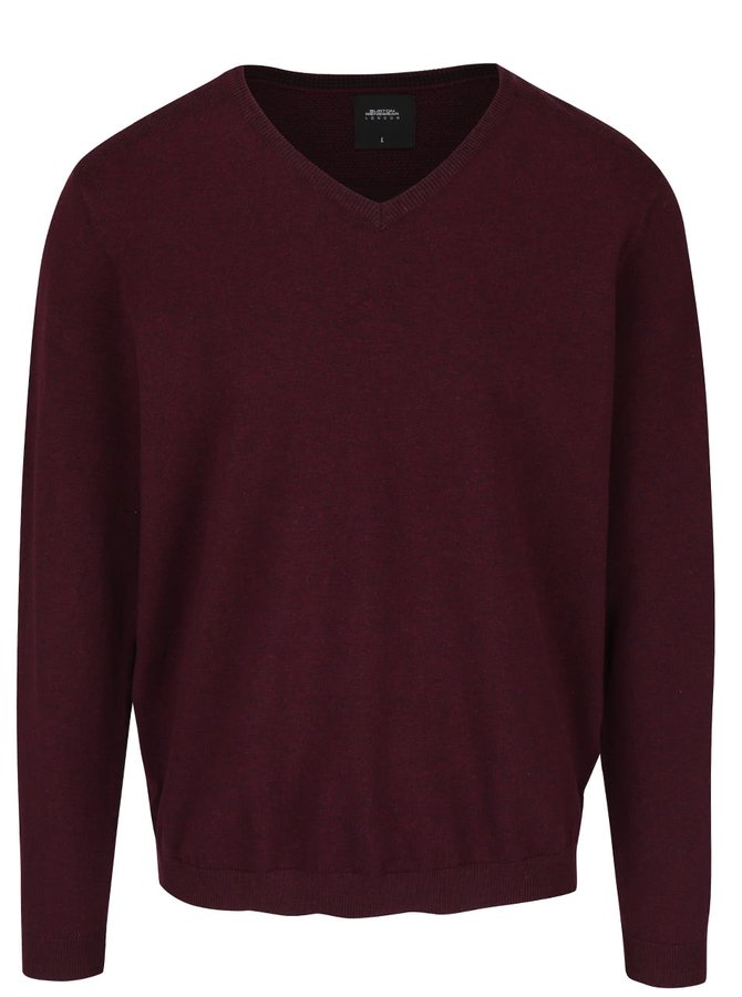 Vínový sveter s véčkovým výstrihom Burton Menswear London
