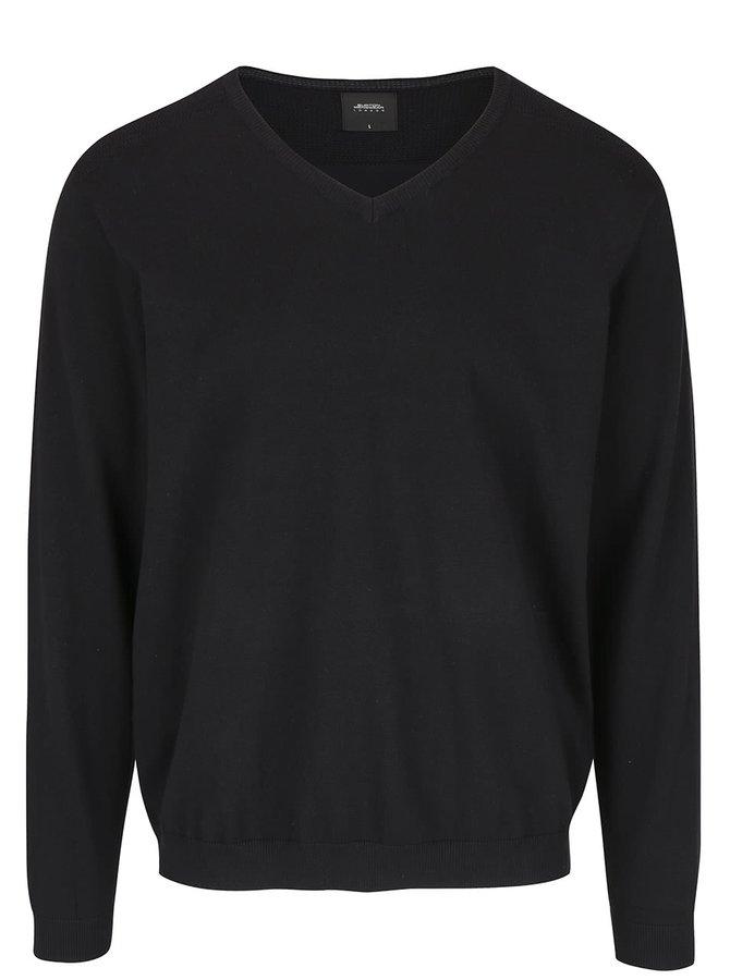 Čierny sveter s véčkovým výstrihom Burton Menswear London