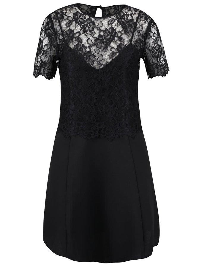 Černé šaty s krajkovým topem Miss Selfridge