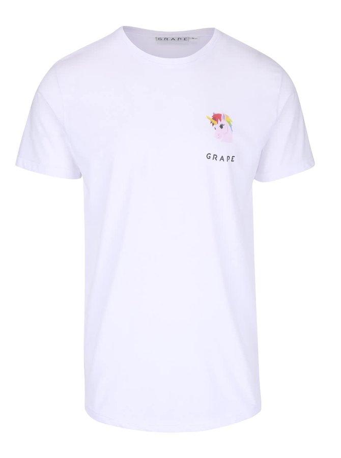 Biele pánske tričko s motívom jednorožca Grape