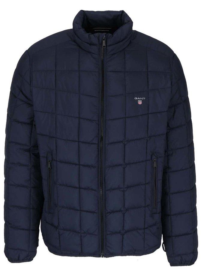 Tmavě modrá pánská prošívaná bunda na zip GANT