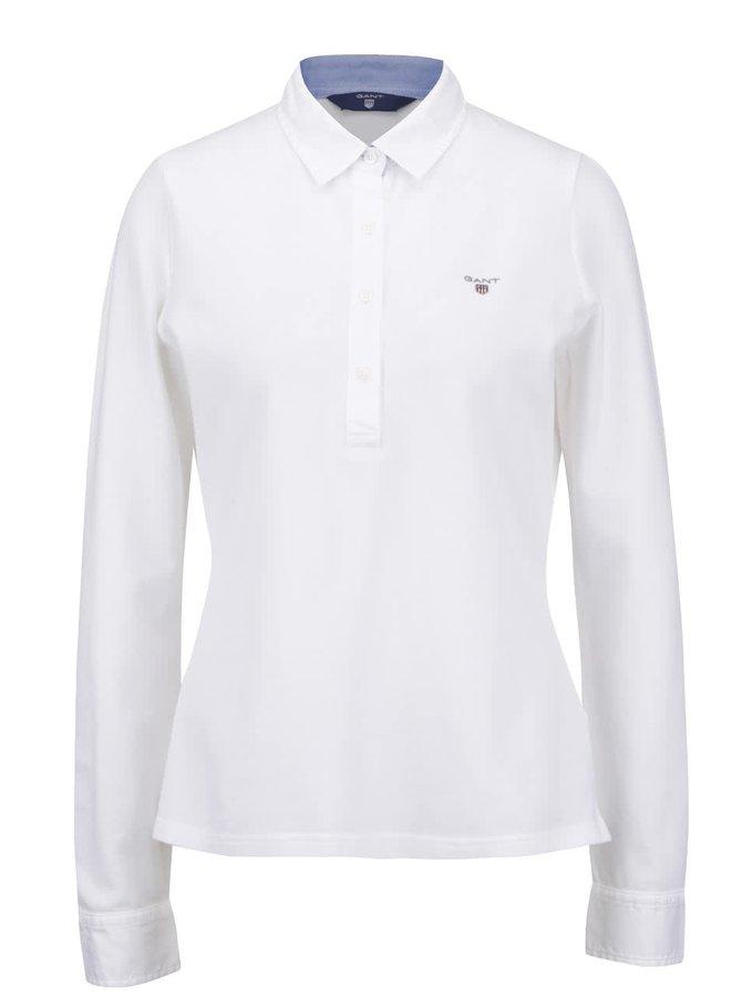 Bílé dámské polo tričko s dlouhým rukávem GANT