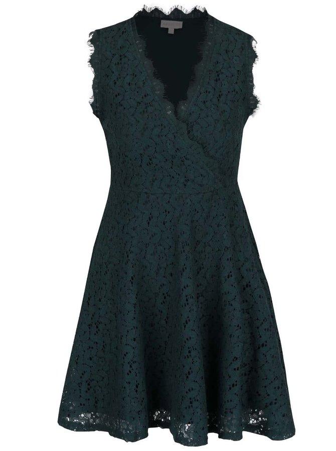 Tmavozelené čipkované šaty s prekladaným výstrihom Apricot