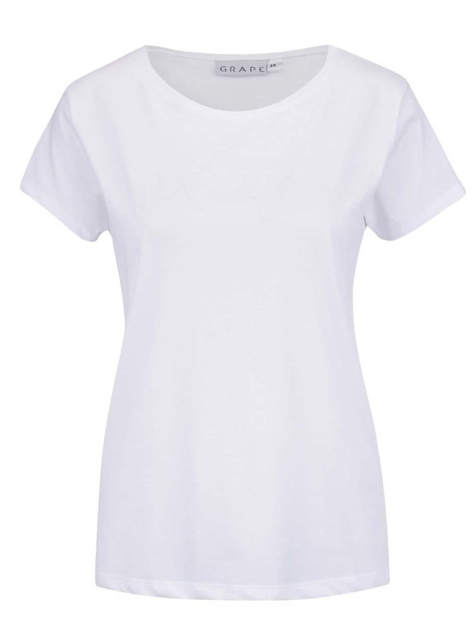 Biele dámske tričko s plastickým nápisom Grape
