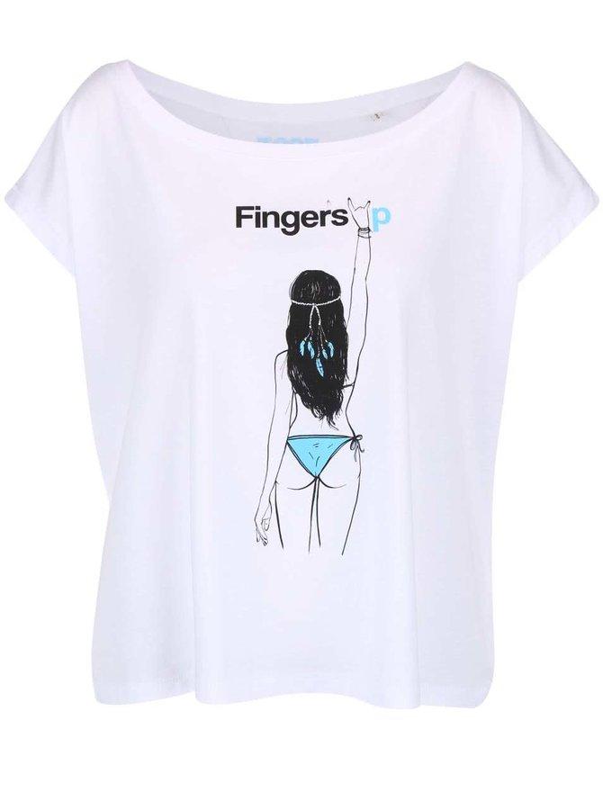 Bílé dámské tričko volného střihu Fingers Up