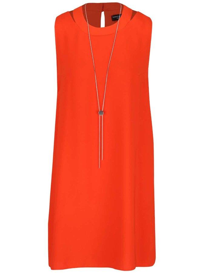 Oranžové šaty se zipy po stranách Dorothy Perkins
