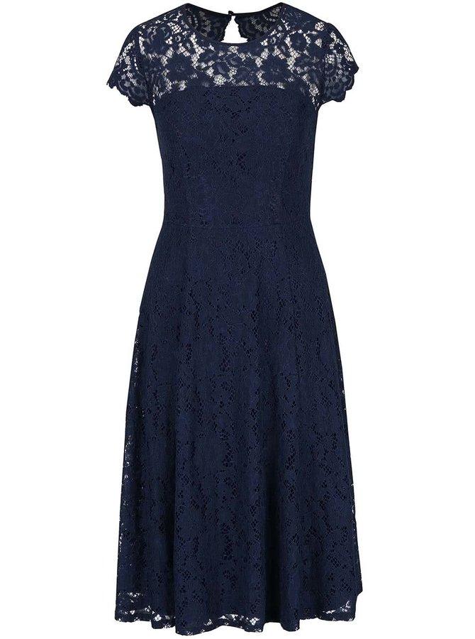 Tmavě modré krajkované šaty Dorothy Perkins