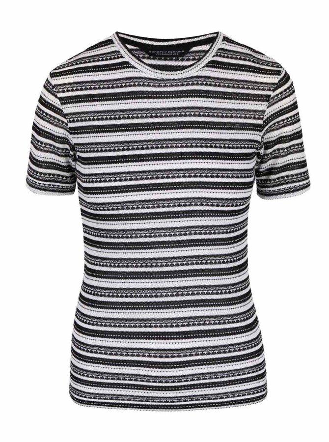 Tricou negru cu dungi Dorothy Perkins