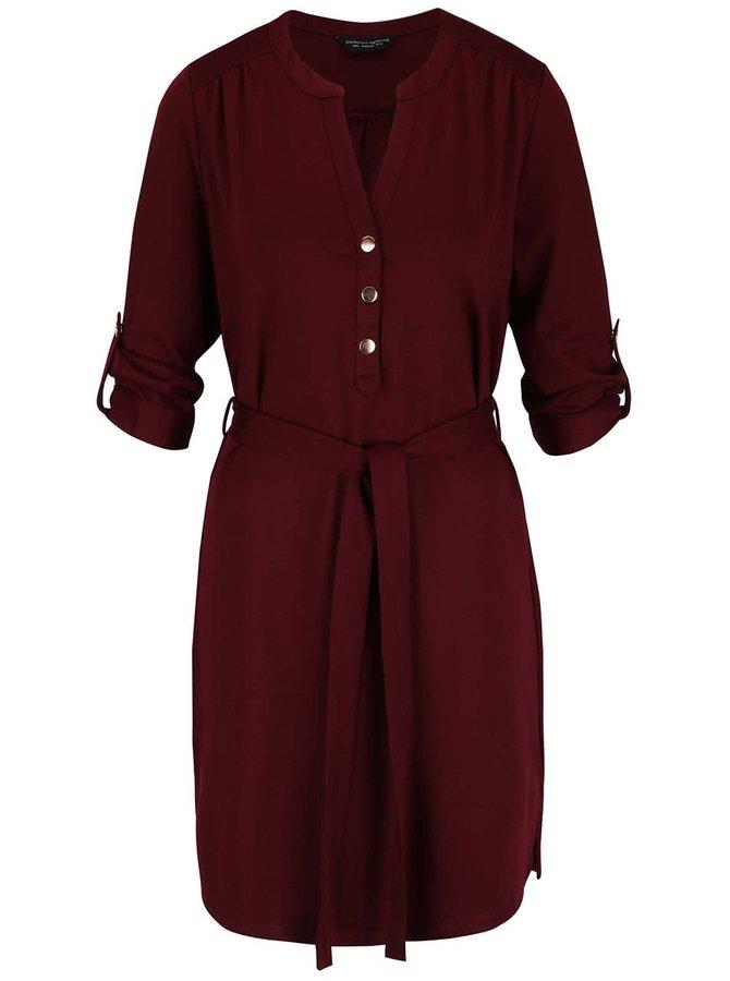 Vínové šaty s opaskom Dorothy Perkins