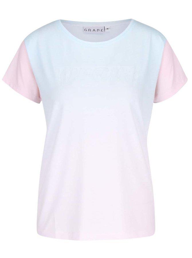 Mentolovo-ružové dámske tričko s plastickou potlačou Grape