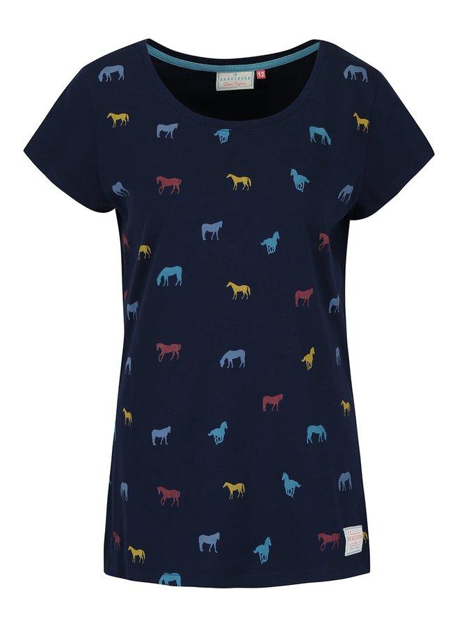 Tricou bleumarin Brakeburn Horses cu imprimeu