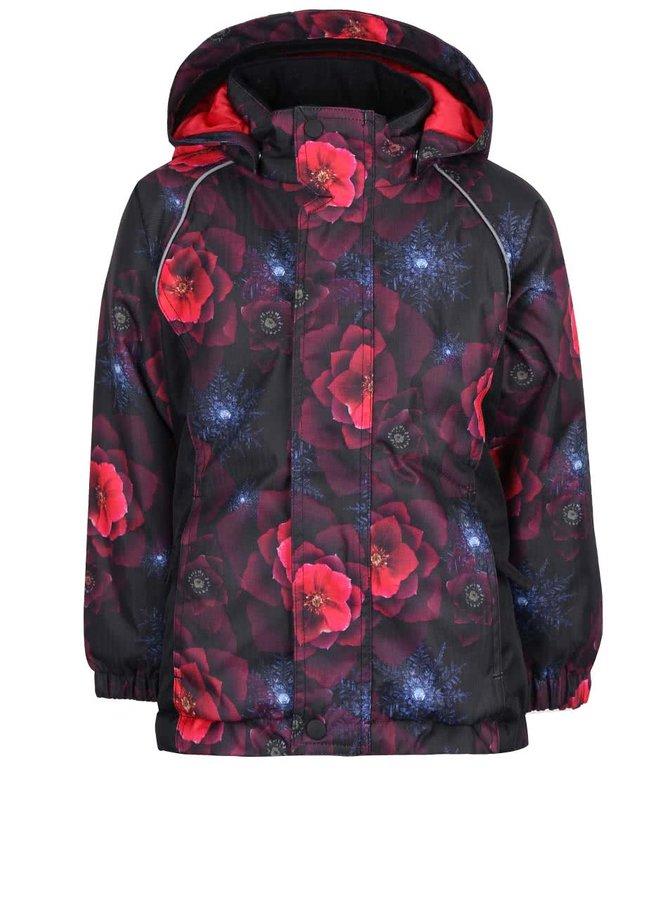 Vínovo-černá holčičí bunda s růžovými květy name it Rise