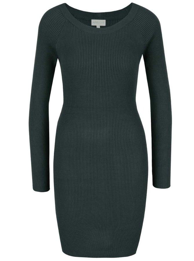 Zelené úpletové šaty se zipem a dlouhým rukávem Apricot