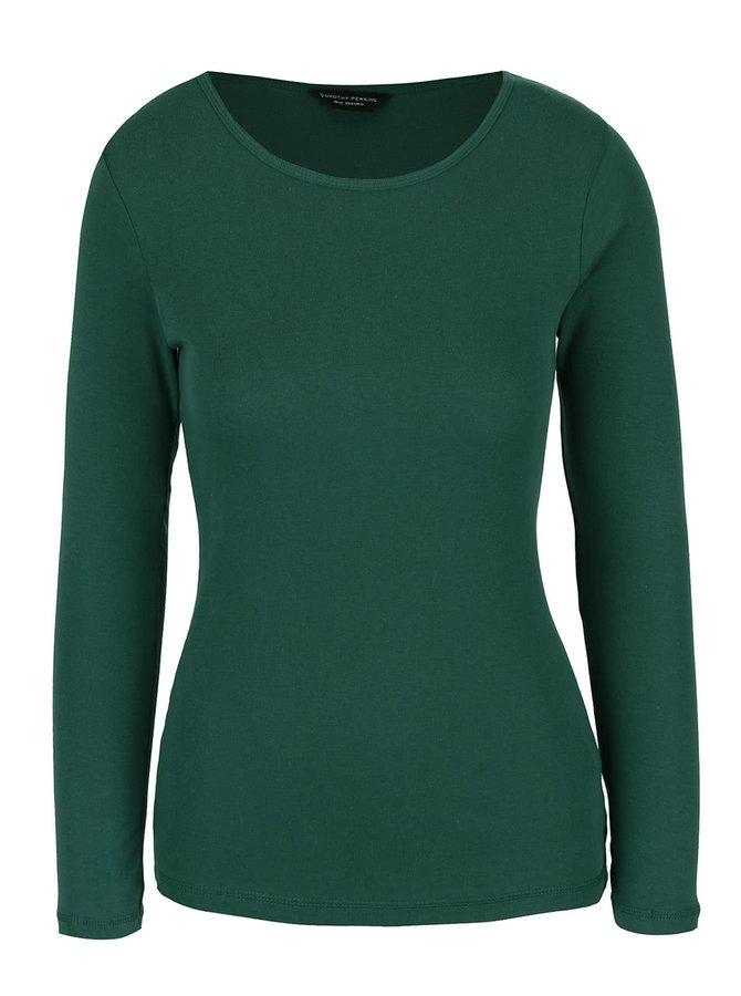 Tmavě zelené tričko s dlouhým rukávem Dorothy Perkins