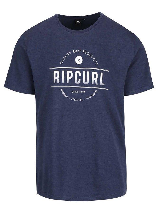 Modré pánské triko s potiskem Rip Curl Rounded SS Tee
