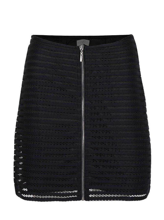 Čierna čipkovaná sukňa na zips Apricot