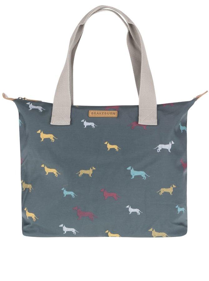 Tmavě zelená taška s potiskem jezevčíků Brakeburn Sausage Dog