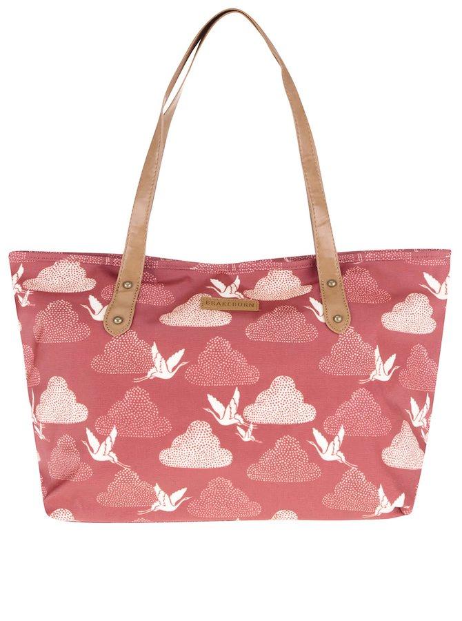 Červená větší taška s motivem jeřábů Brakeburn Cranes