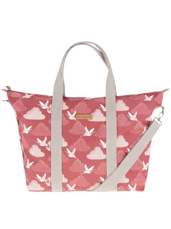 Červená veľká taška s motívom žeriavov Brakeburn Cranes Overnight