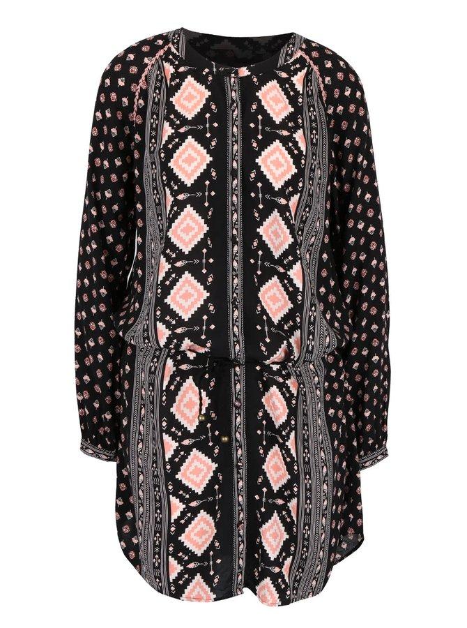 Ružovo-čierne vzorované šaty Rip Curl Guetaria
