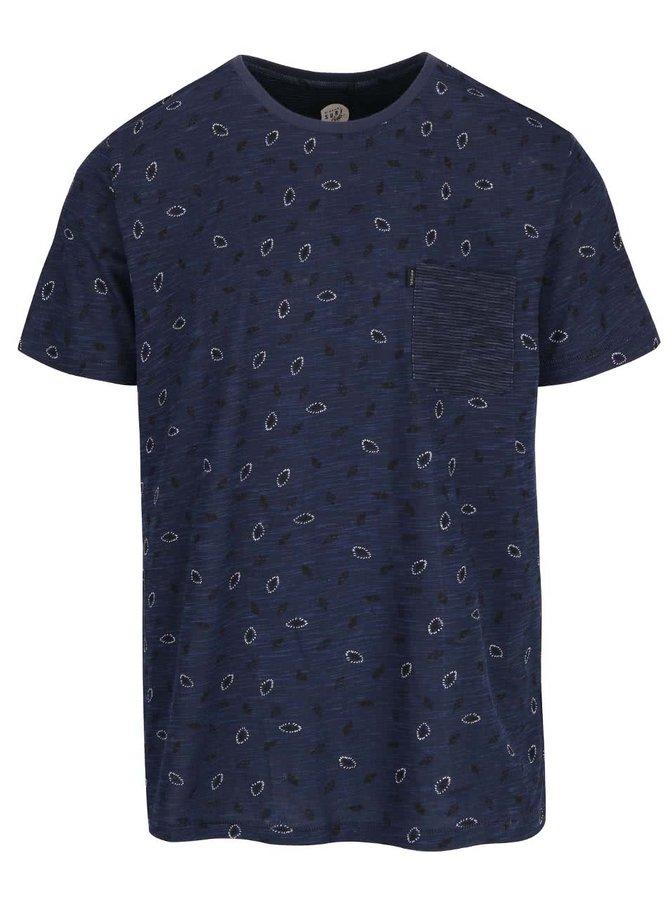 Tmavě modré pánské vzorované slim fit triko Rip Curl Allo SS Tee