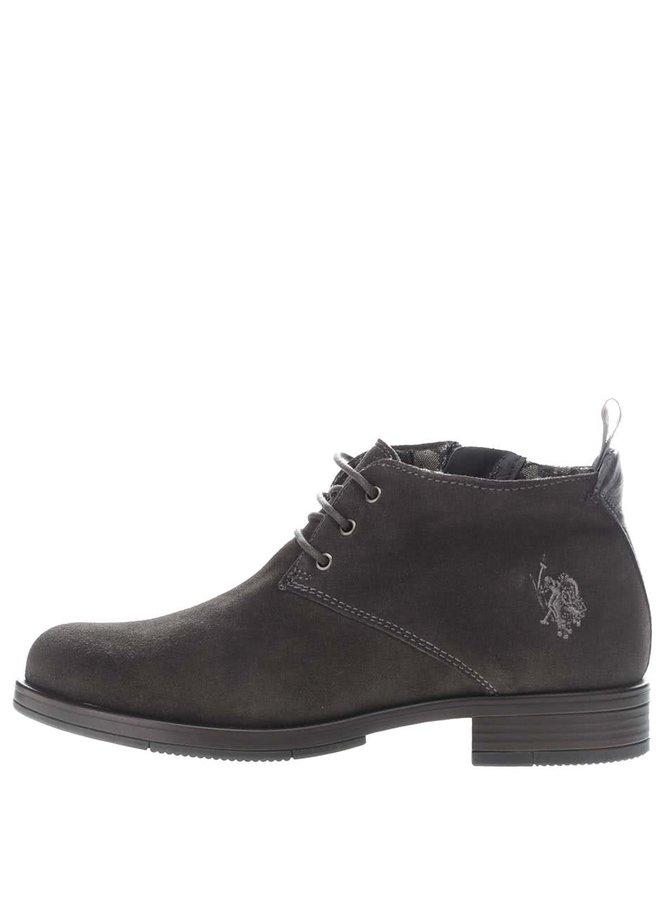 Tmavosivé dámske semišové členkové topánky U.S. Polo Assn. Palmira