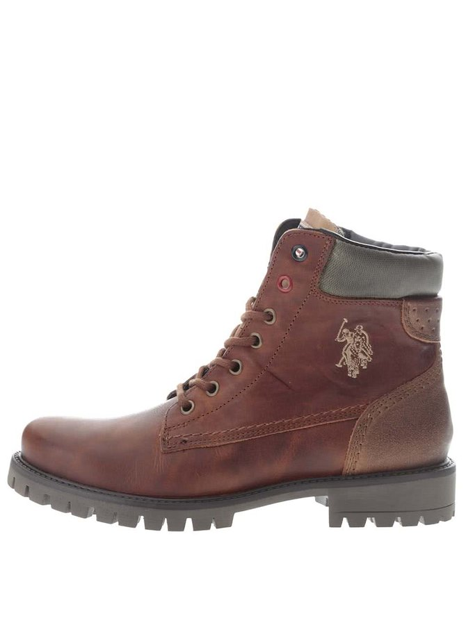 Hnědé dámské kožené kotníkové boty U.S. Polo Assn. Paige