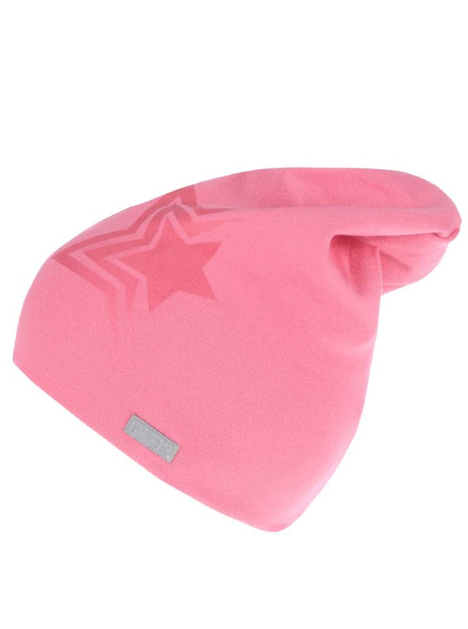 Ružová dievčenská čiapka s potlačou hviezdy name it Moppy