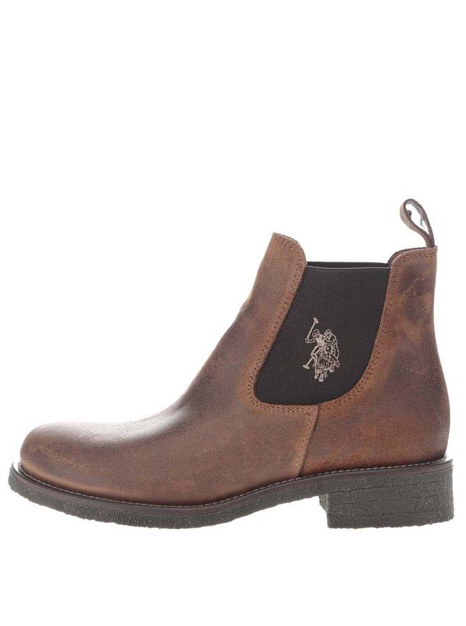 Hnědé dámské kotníkové boty z broušené kůže U.S. Polo Assn. Faris