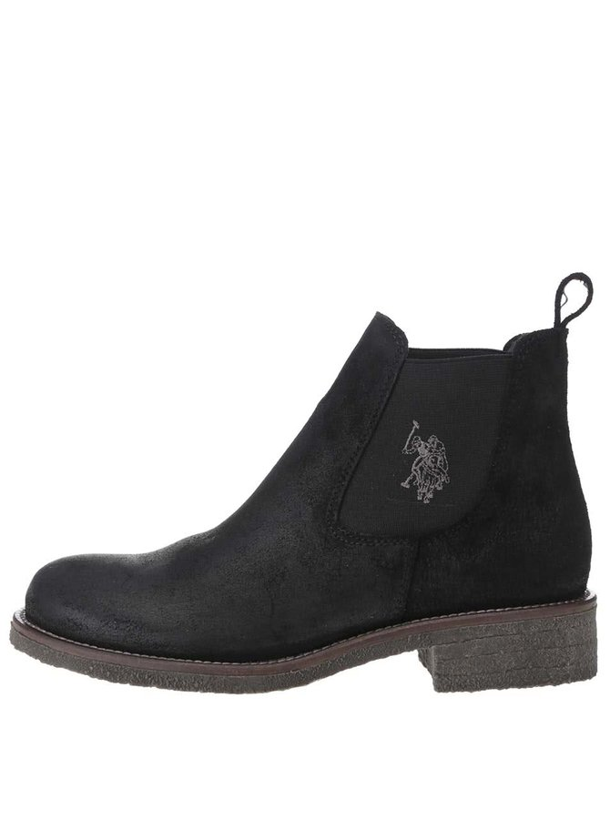 Čierne dámske členkové topánky z brúsenej kože U.S. Polo Assn. Faris