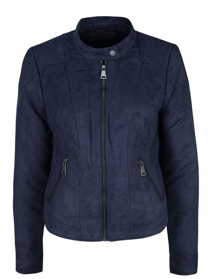 Jachetă bleumarin slim fit VERO MODA Mirra cu aspect de piele întoarsă