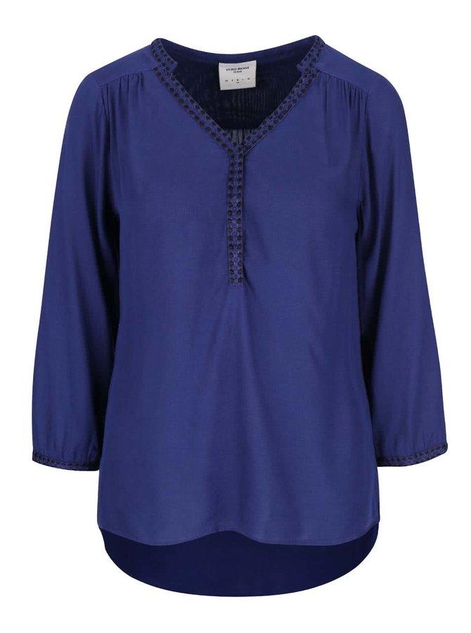 Bluză albastră Vero Moda Charlotte cu mâneci trei sferturi