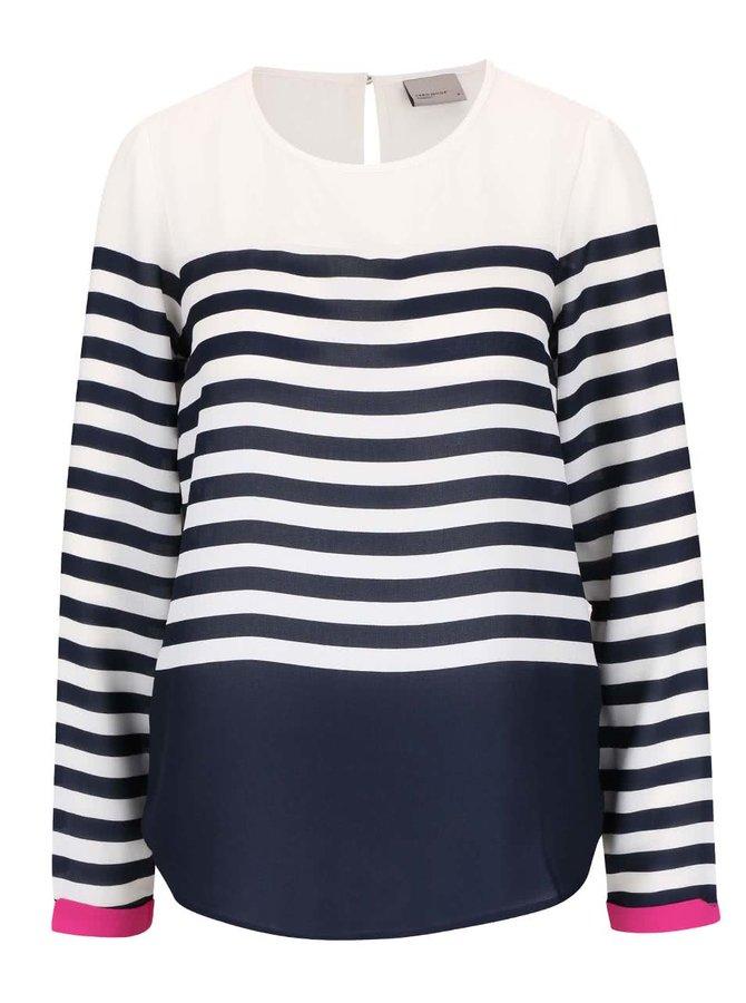Modro-krémové pruhované tričko s dlouhým rukávem Vero Moda Ana