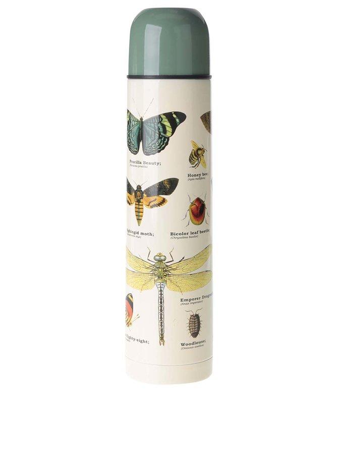 Zeleno-béžová termoska s potlačou hmyzu Gift Republic