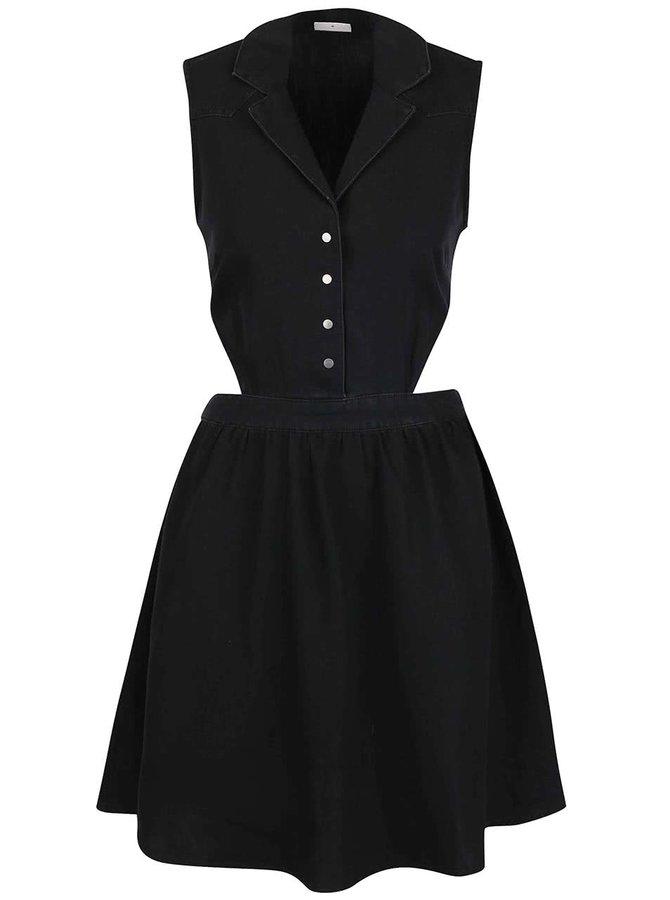 Černé denimové šaty bez rukávů Noisy May