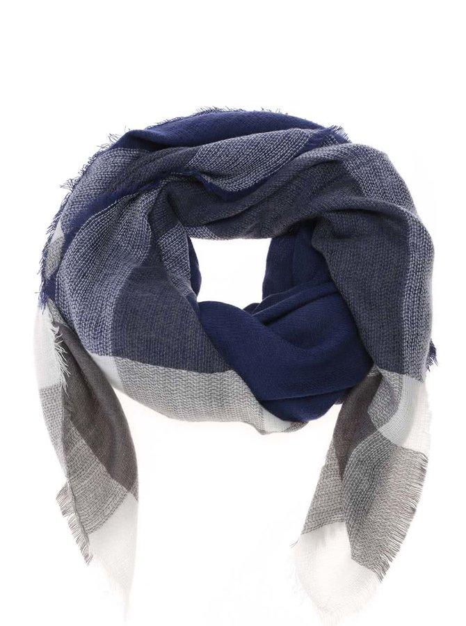 Krémovo-modrý kockovaný šál TALLY WEiJL