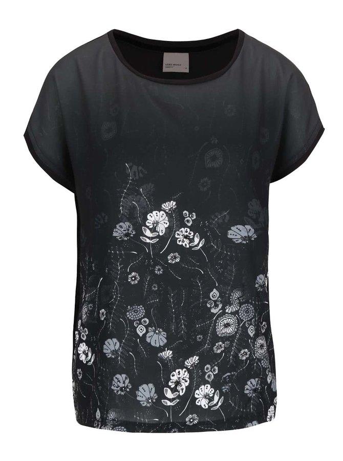 Čierne tričko s potlačou kvetín VERO MODA Sia