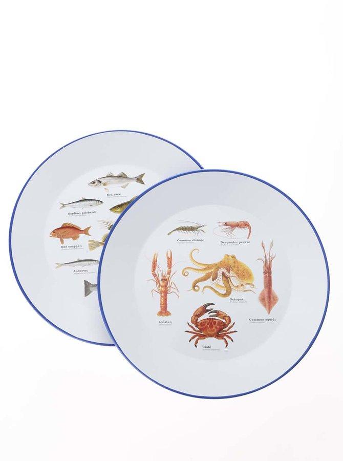 Set 2 farfurii cu imprimeu cu pești Gift Republic