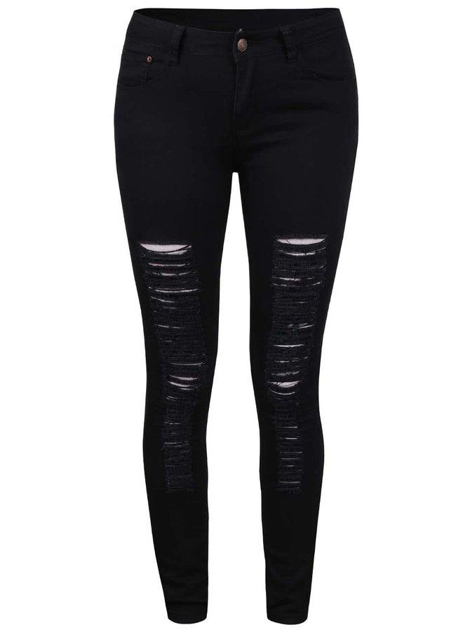 Černé roztrhané džíny Madonna