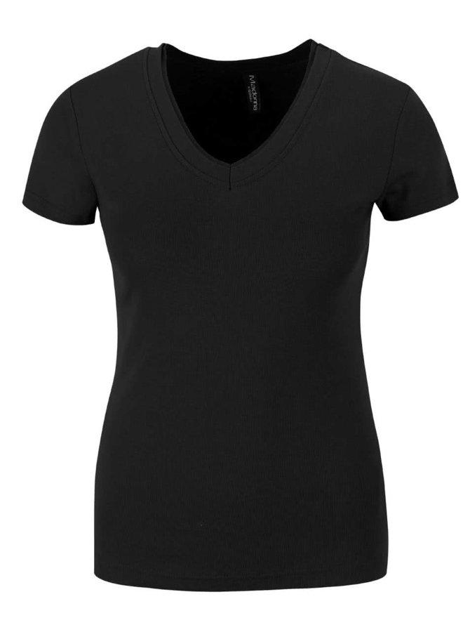 Černé tričko s véčkovým výstřihem Madonna