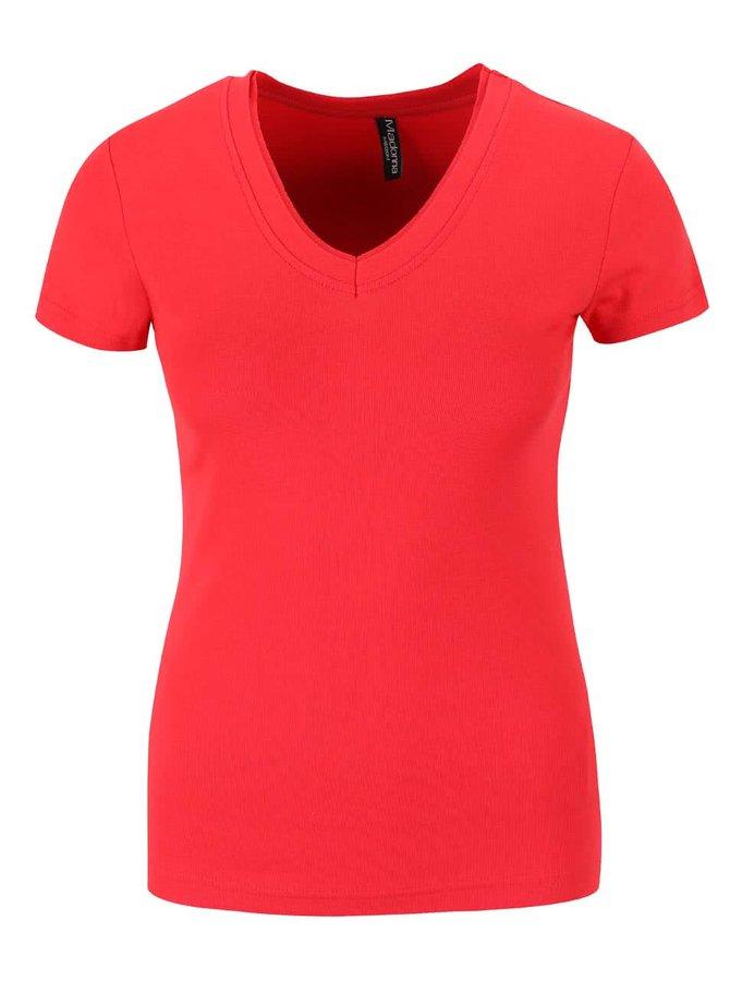 Červené tričko s véčkovým výstrihom Madonna