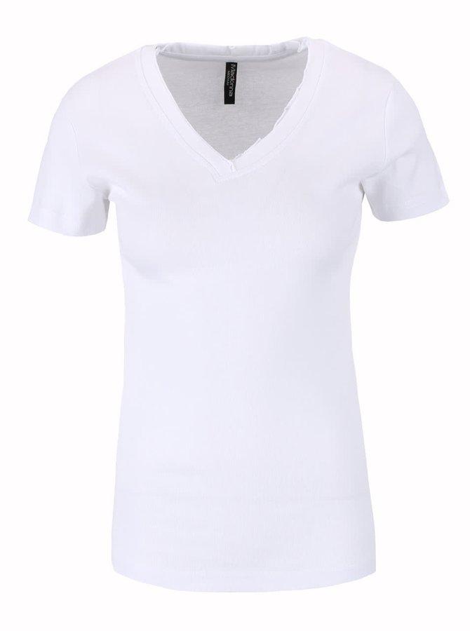 Bílé tričko s véčkovým výstřihem Madonna