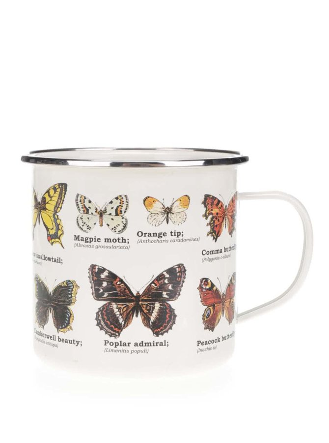 Bílý plechový hrnek s potiskem motýlů Gift Republic