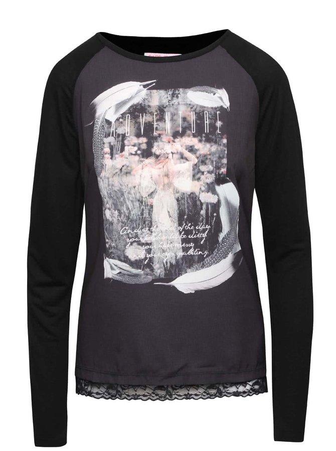 Sivo-čierne dámske tričko s potlačou Cars Lace