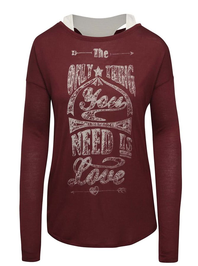 Vínové dámské tričko s krémovým tílkem Cars Naem