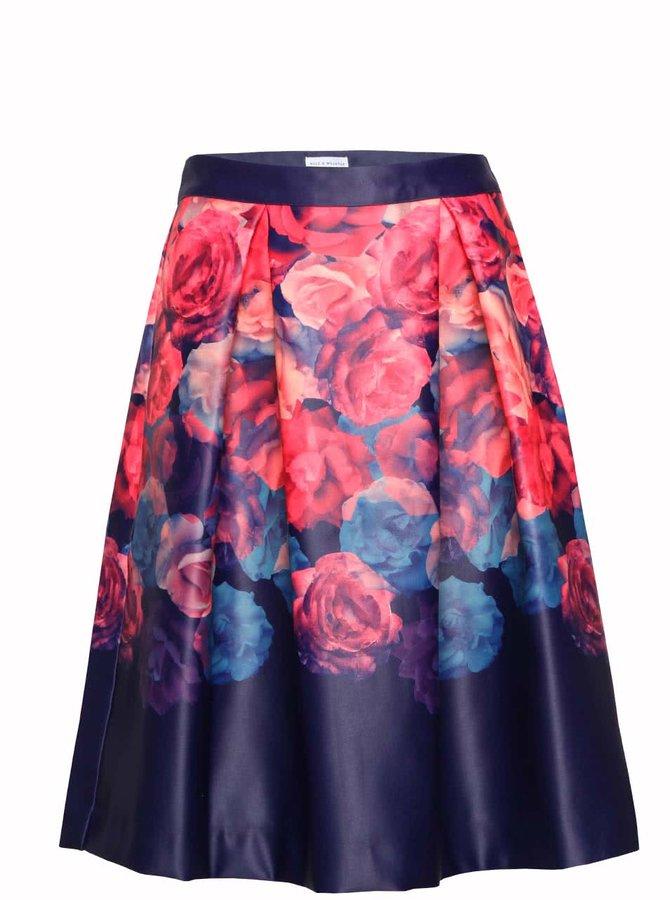 Modro-růžová květovaná sukně Wolf & Whistle