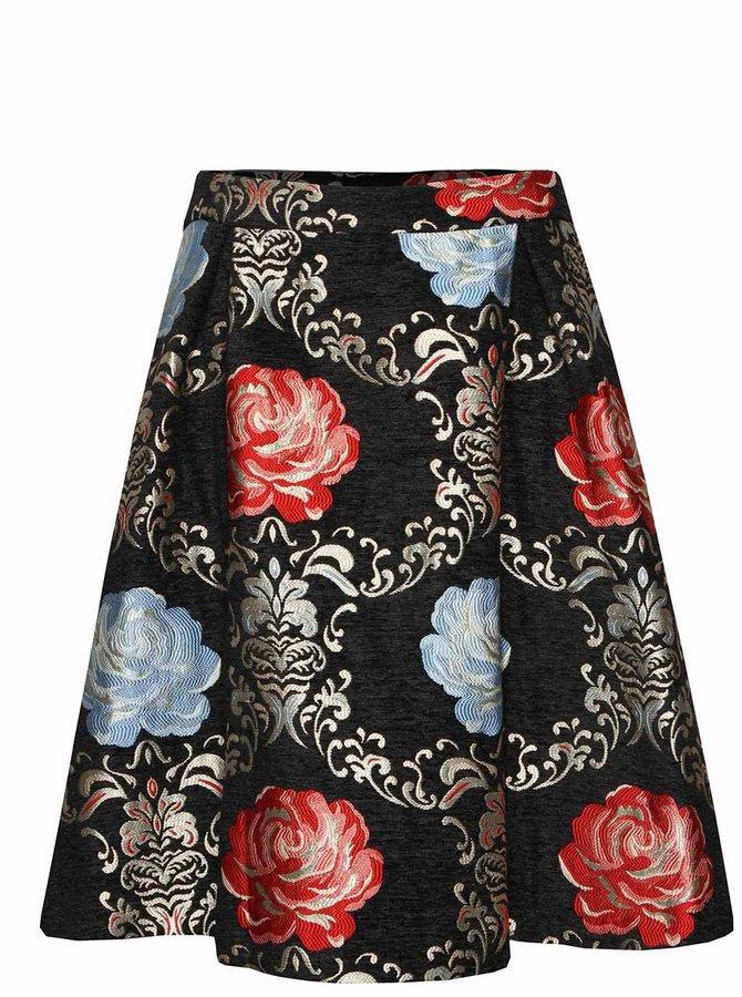 Černá vzorovaná sukně s motivem květin Wolf & Whistle
